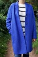 Harris Wharf London Cocoon Coat in Indigo