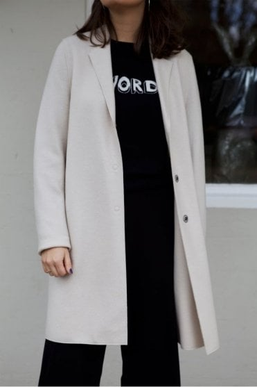 Cocoon Single-Breasted Wool Coat in Cream