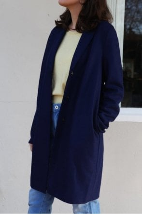 Cocoon Single-Breasted Wool Coat in Ink