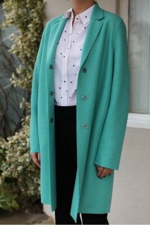 Cocoon Single-Breasted Wool Coat in Mint