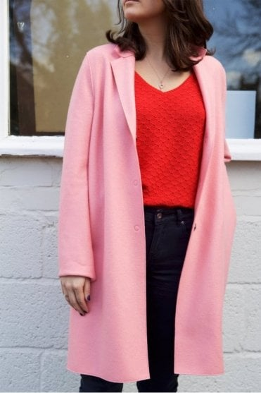 Cocoon Single-Breasted Wool Coat in Pink Flamingo
