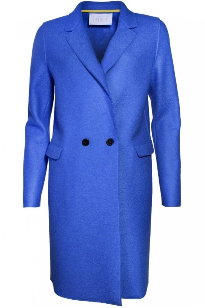 Harris Wharf London Double Breasted Wool Coat in Cerulean
