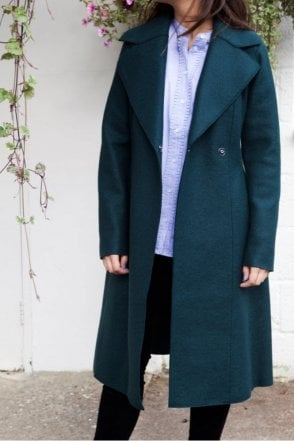 Long Flared Coat in Emerald