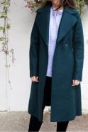 Harris Wharf London Long Flared Coat in Emerald