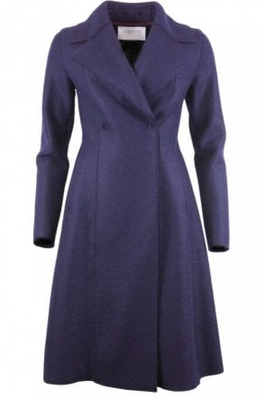 Long Flared Wool Coat in Navy