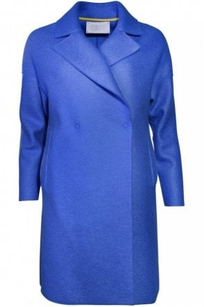 Oversized Wool Coat in Cerulean