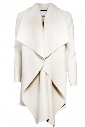 Wool Blanket Coat in Ecru