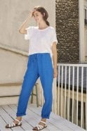 Harris Wilson Linon Linen Trousers in Ocean