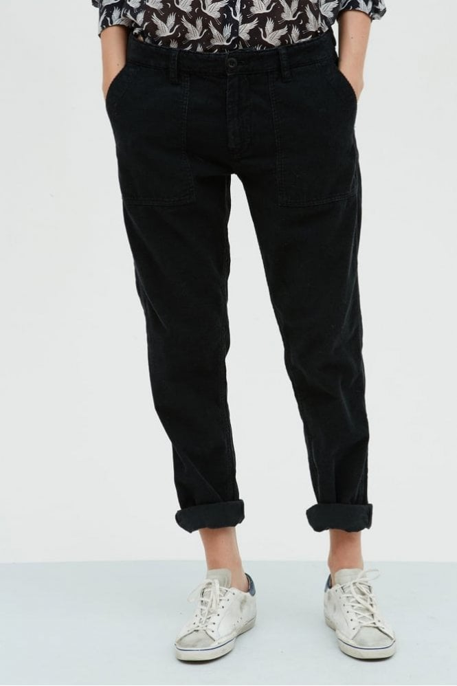 Hartford Black Babycord Pascale Pants
