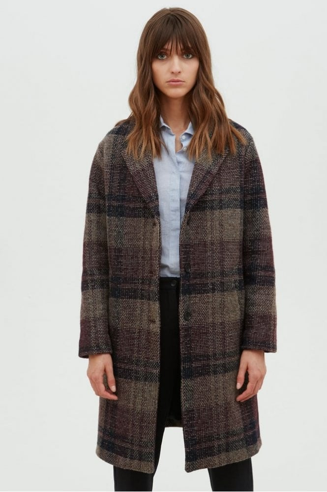Hartford Burgundy Beige and Navy Check Coat