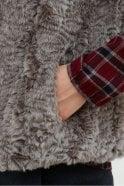 Hartford Grey Faux Fur Jacket