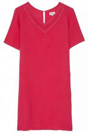 Magenta Linen Raphia Dress