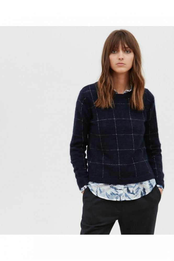 Hartford Navy and Lurex Checks Mohair Jumper