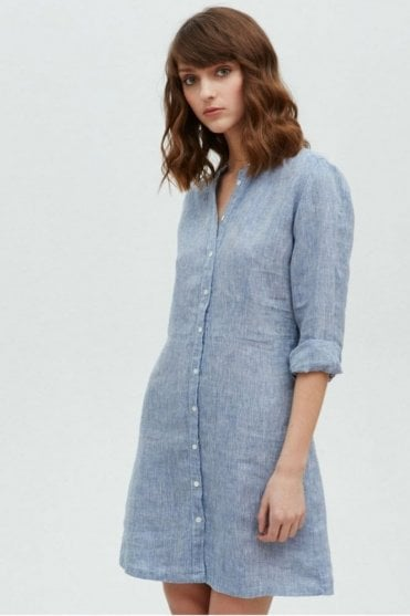 Rencontre Chambray Long Sleeve Linen Dress in Blue