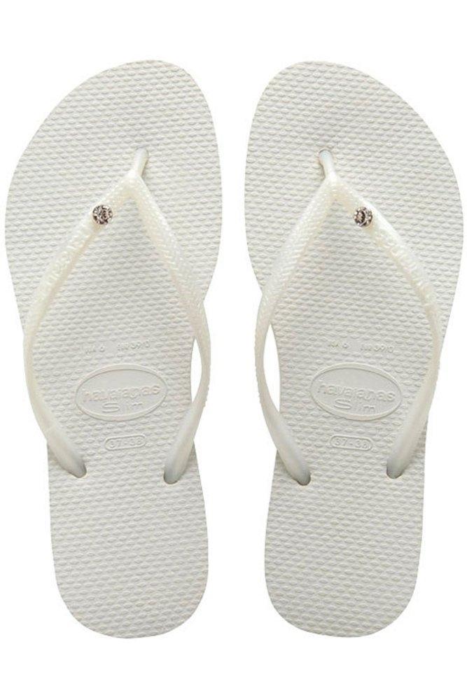 615b50ef7 Havaianas Slim Crystal Glamour SW Flip Flops White