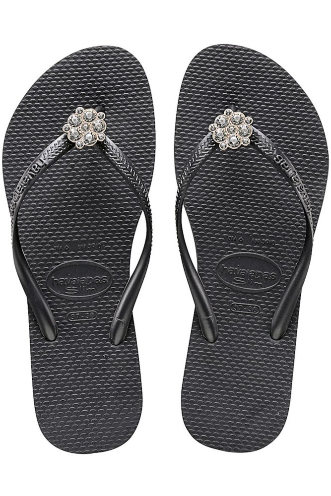 9b3725299e69a0 Havaianas Slim Crystal Poem in Black and Dark Grey at Sue Parkinson