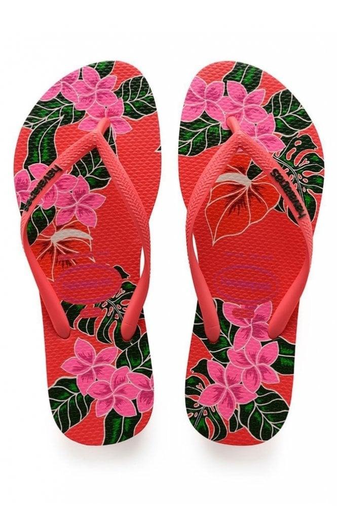 Havaianas Slim Floral in Coral