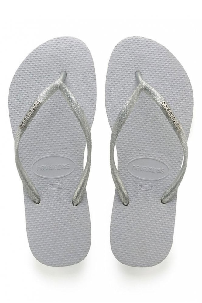 Havaianas Slim Logo Metallic in Grey