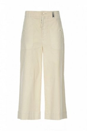 Bellboy Cream Cropped Wide Flares