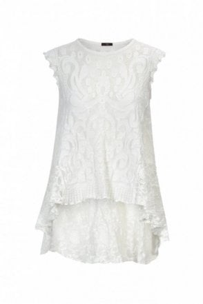 Eventful Cap Sleeve Tech Knit Top with Tech Lace Back Hem