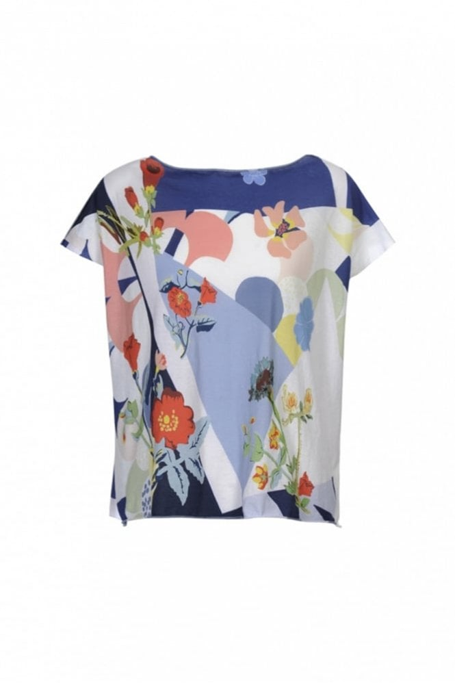 HIGH Interplay Blue and Pink Printed Jersey Square-Cut Tee