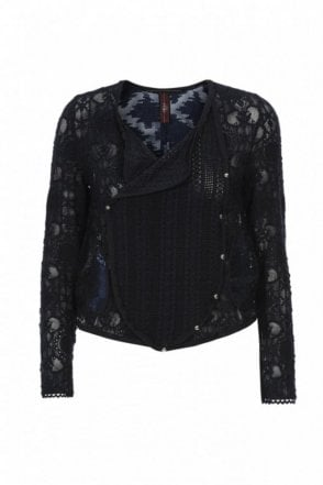 Introduce Navy Lace and Embroidered Organza Sheer Jacket