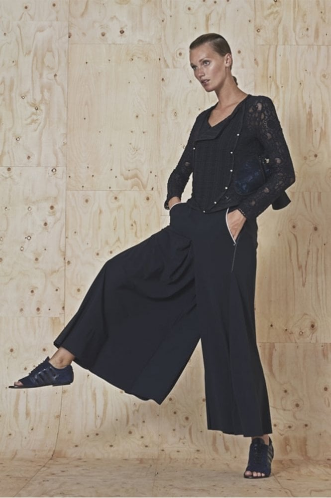 HIGH Introduce Navy Lace and Embroidered Organza Sheer Jacket