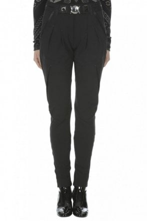 Lurch Black Pleated Front Pants with Tapered Leg