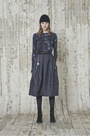 Mahonia Blue and Black Florals with Stripe Long Sleeve Top