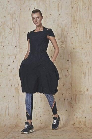 Rhythm Navy Pinstripe Dress with Draped Arm
