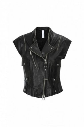 Rowdy Black Leather Biker Gilet