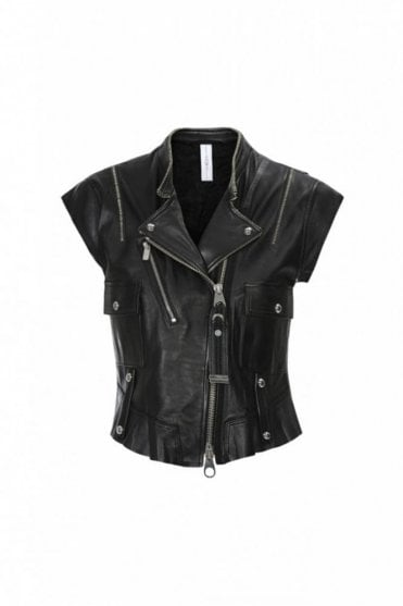 Rowdy Black Leather Biker Gilet