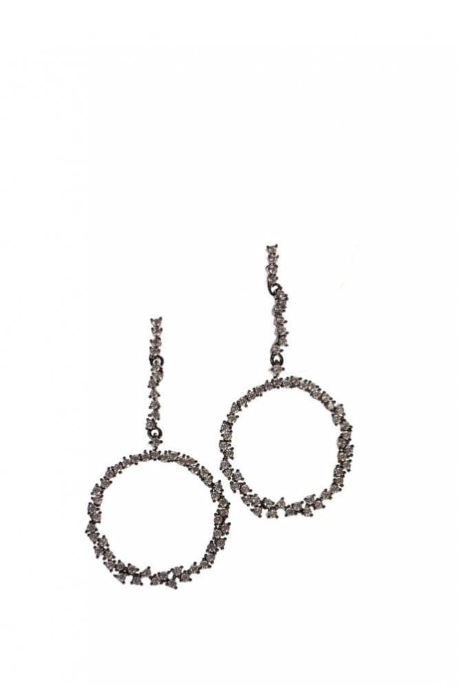 Hot Tomato Crystal Encrusted Circle Earrings in Gunmetal