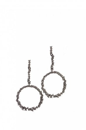 Crystal Encrusted Circle Earrings in Gunmetal