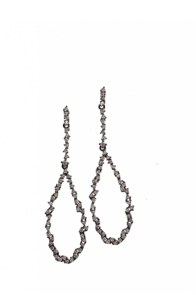 Hot Tomato Crystal Encrusted Teardrop Earrings in Gunmetal