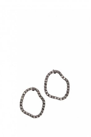 Crystal Smoke Signal Earrings in Gunmetal