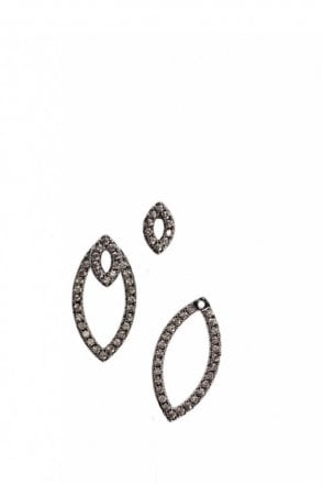 Oval Crystal Earrings in Gunmetal