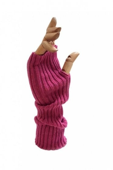 Rib Knit Mitt in Sparkle Fuchsia