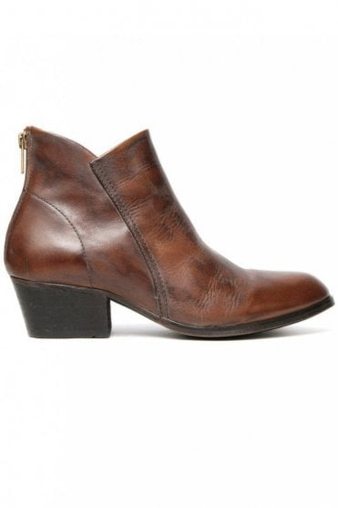 Apisi Tan Leather Ankle Boot