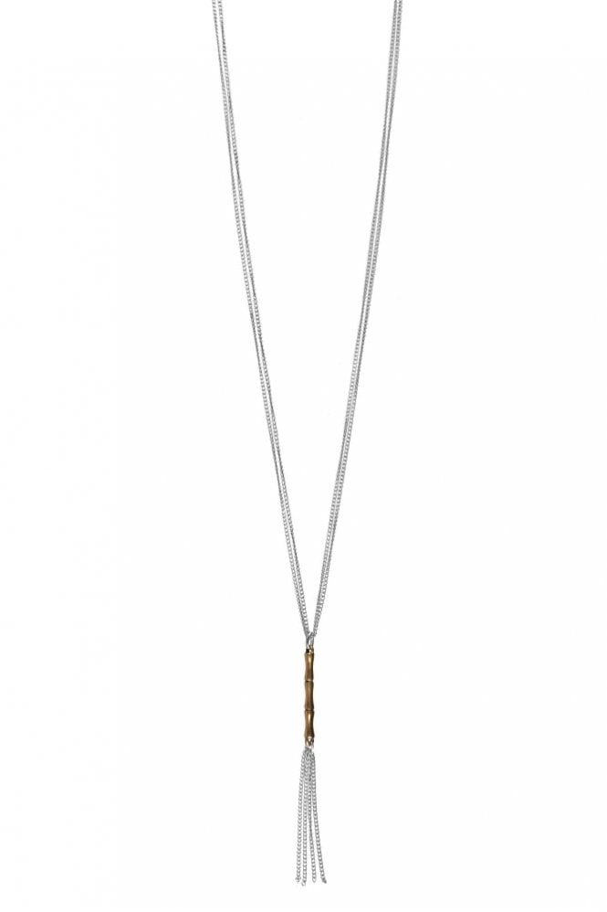 Hultquist Bamboo Tassel Necklace in Gold & Silver