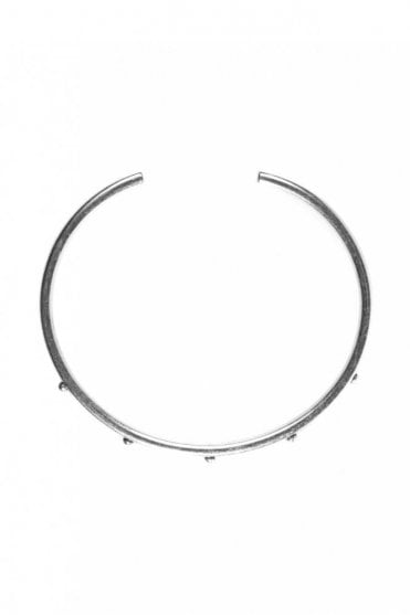 Circle Dot Silver Adjustable Bangle