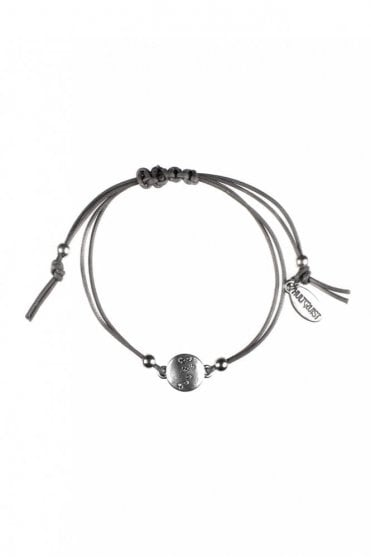 Constellation Grey Macramé Bracelet with Silver Coin