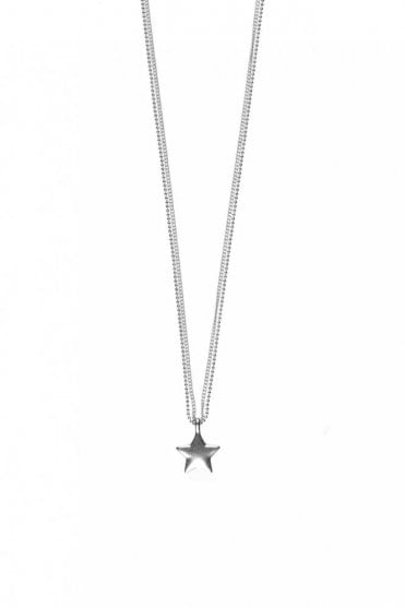 Constellation Silver Double Chain Star Pendant Necklace