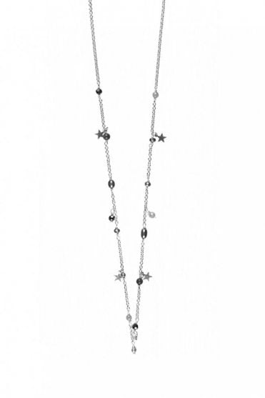 Constellation Silver Star Charm and Beaded Necklace