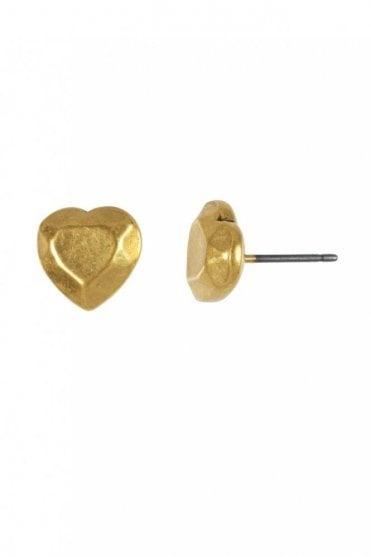 Diamond Heart Gold Facet Heart Earstud
