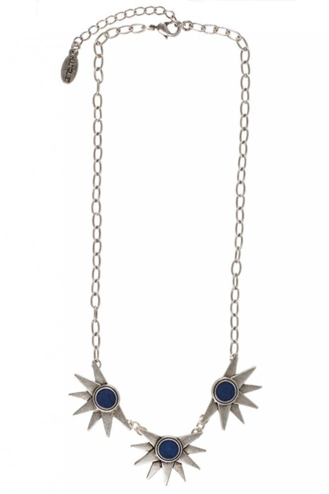 Hultquist Etno Silver and Lapis Blue Stone Necklace