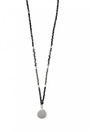 Facet Glass Stones Silver Coin Beaded Necklace