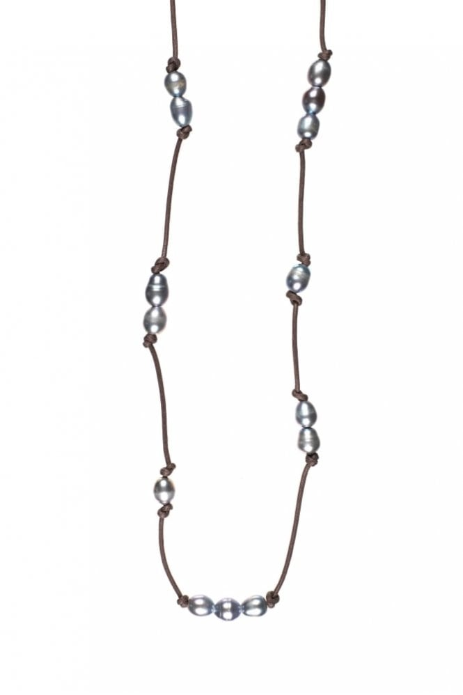 Hultquist Jewellery Freshwater Pearl Rose Gold Cord Necklace