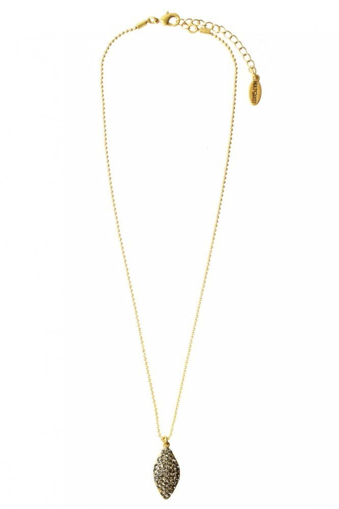 Hultquist Gold Glitter Oval Pendant Necklace