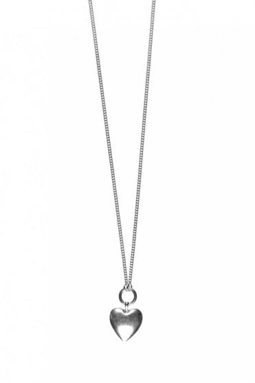 Hearts Long Silver Pendant Necklace